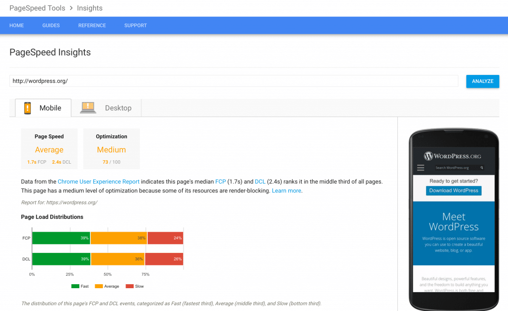 Screenshot of Google's PageSpeed Insights tool