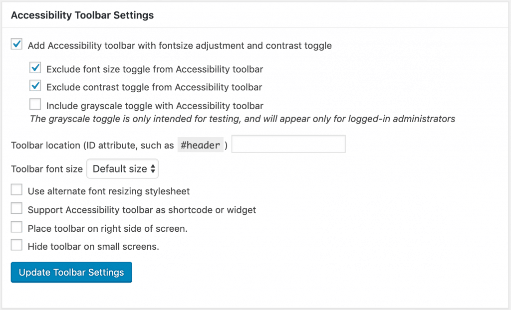 Screenshot of the Accessibility Toolbar settings in WP Accessibility