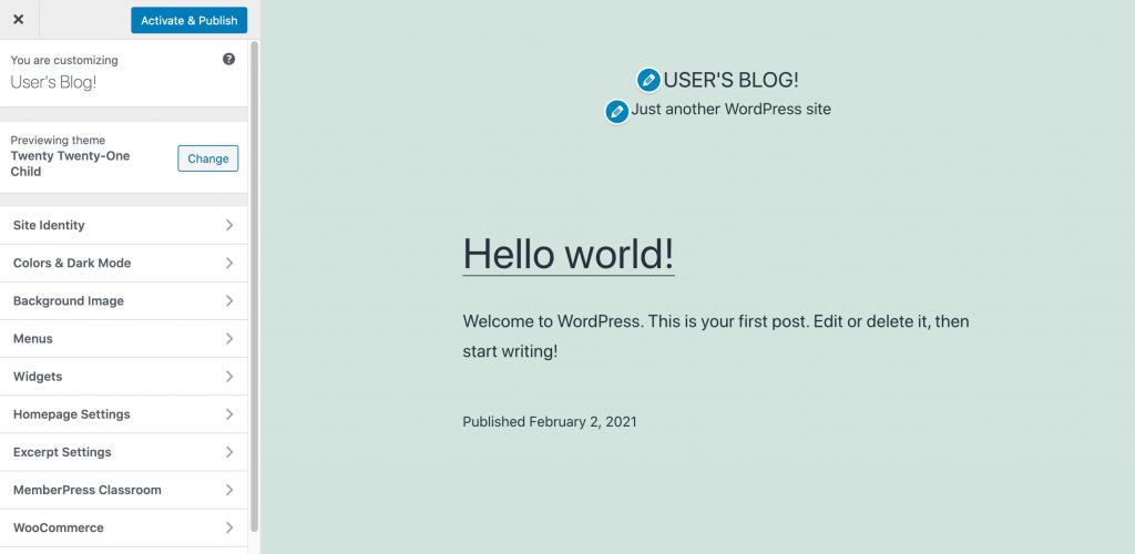 A Child Theme, in the WordPress Customizer.
