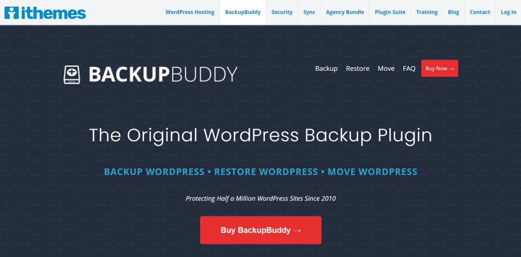 The BackupBuddy home page.