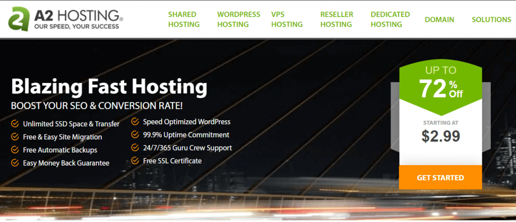 The A2 Hosting home page.