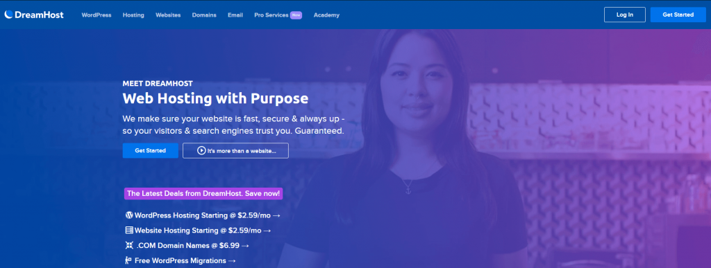 The DreamHost home page.