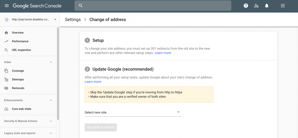 Google Search Console's change of address tool.