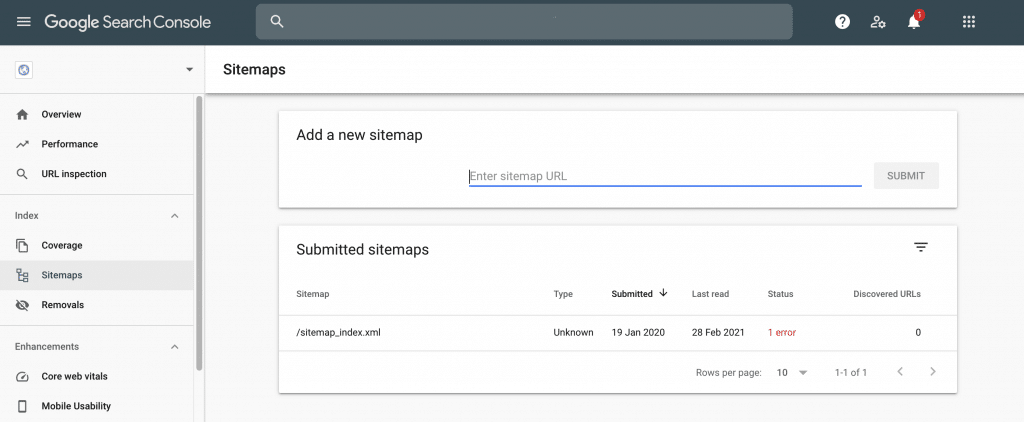 Monitoring a domain name in the Google Search Console.
