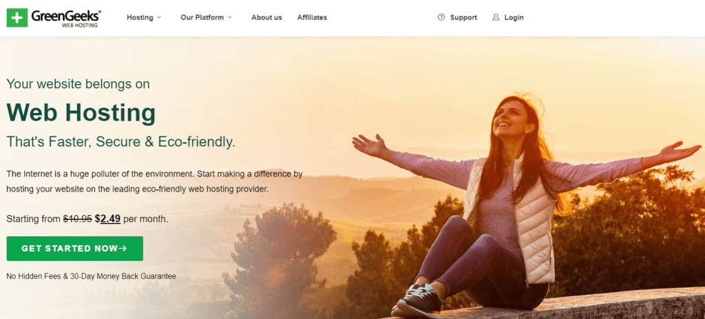 GreenGeeks eco-friendly web hosting.