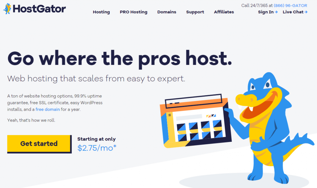 The HostGator home page.