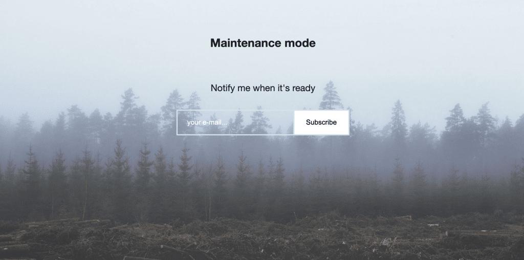 A WordPress maintenance mode splash screen.