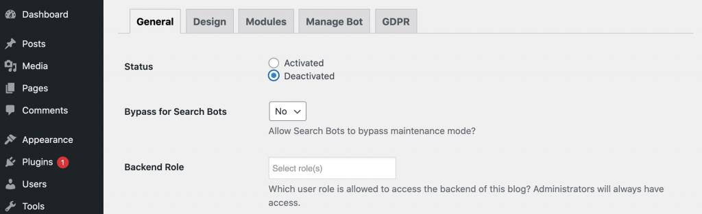 Deactivating WordPress maintenance mode.
