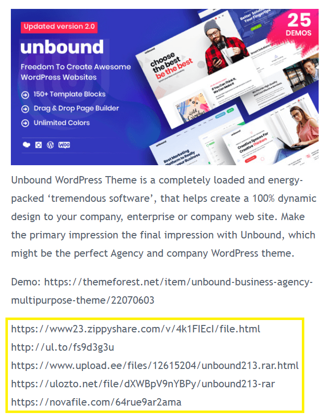 A pirate site displaying several download links, which might indicate a nulled theme.