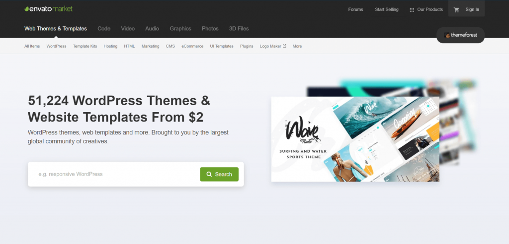 The homepage for ThemeForest, a reliable option to avoid nulled themes.