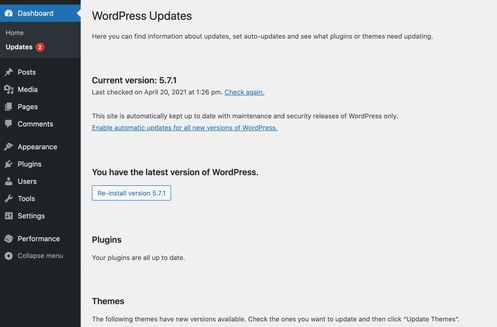 WordPress's update screen.