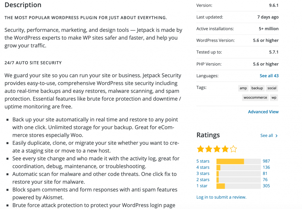 The ratings section of a WordPress plugin.