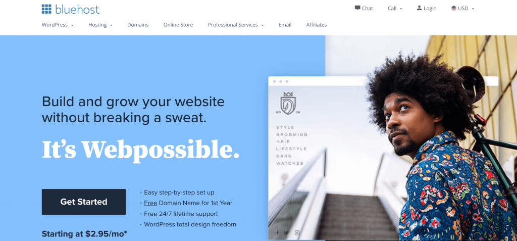 The Bluehost website.