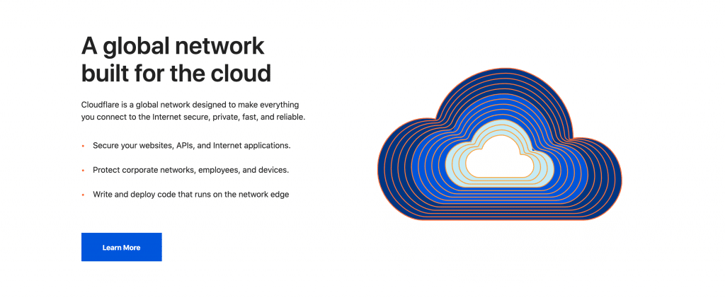 The Cloudflare home page.