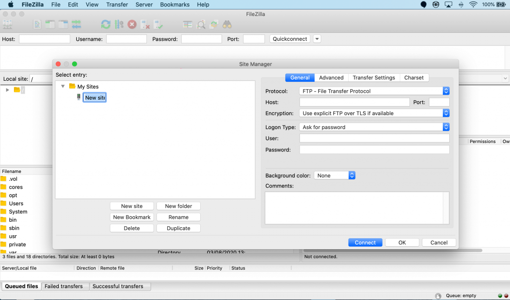 Connecting to a new site using FileZilla.