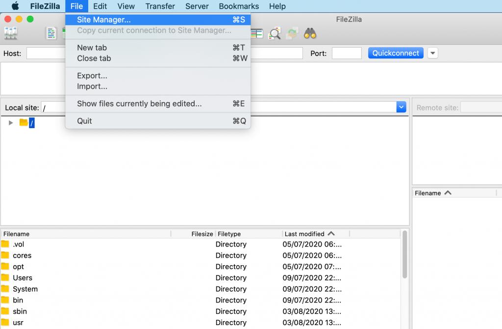 The FileZilla User Interface (UI).