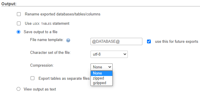 Selecting the compression type for database files.