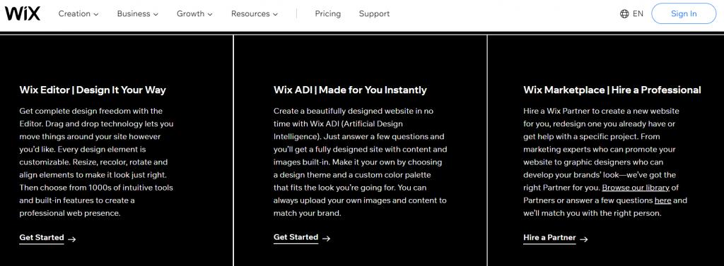 Wix design options