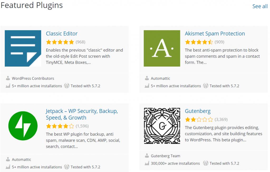WordPress featured plugins