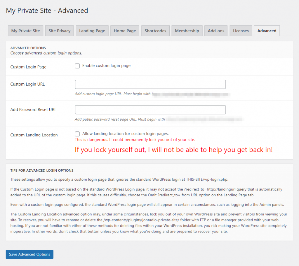 The advanced privacy settings.