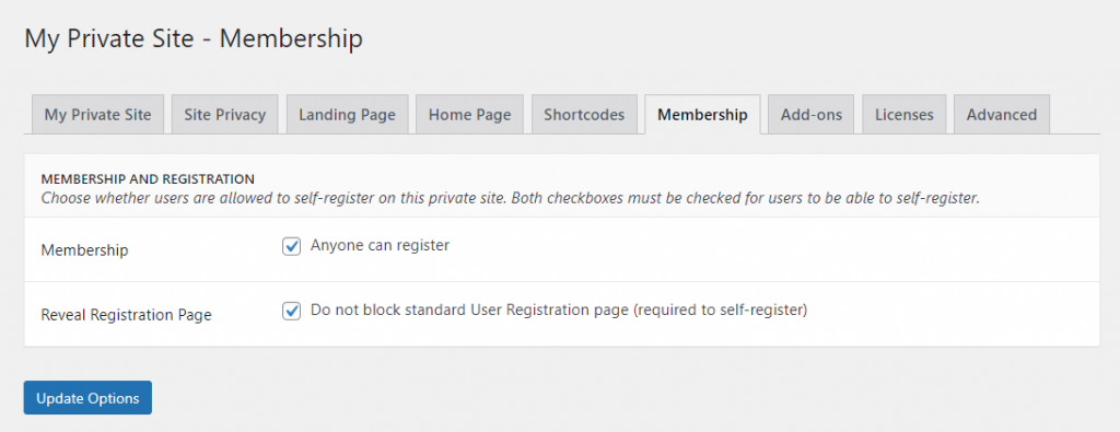 The membership tab for the private site plugin.