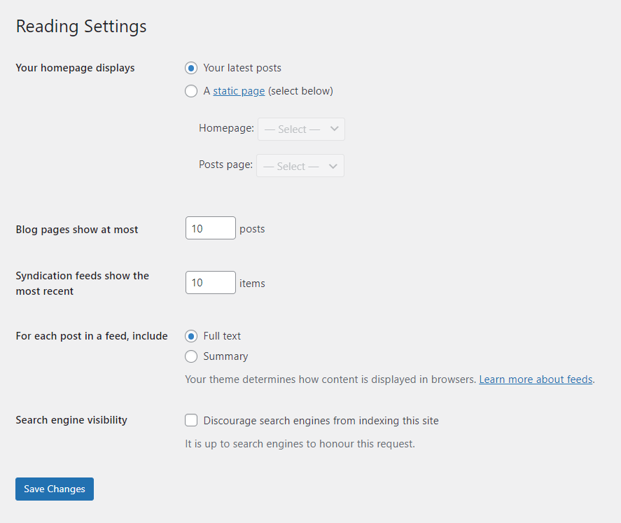 The reading settings for a WordPress website.