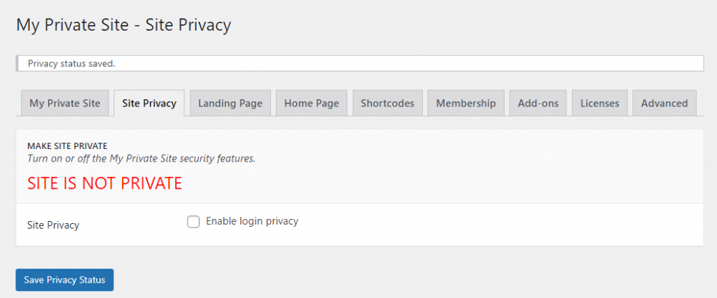 The site privacy status page of My Private Site.