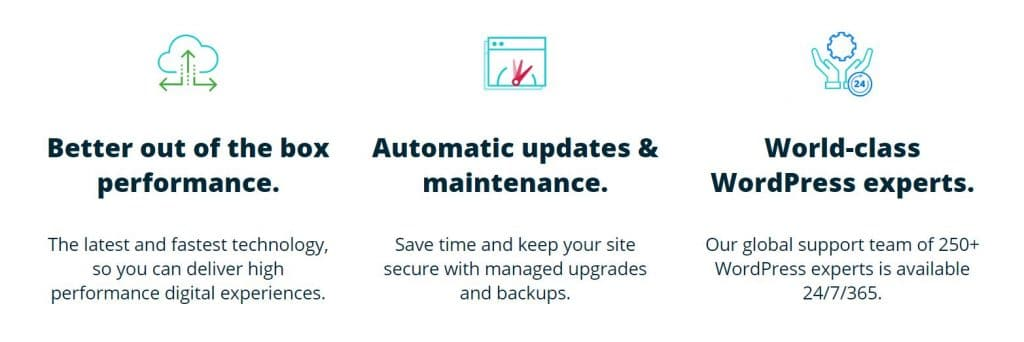 An example pf main features offered with managed WordPress hosting.