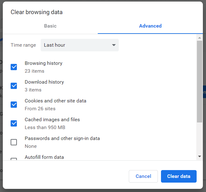 Clearing advanced browsing data.