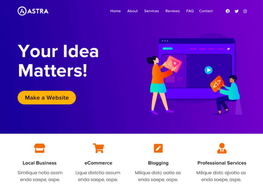The WordPress Astra theme.