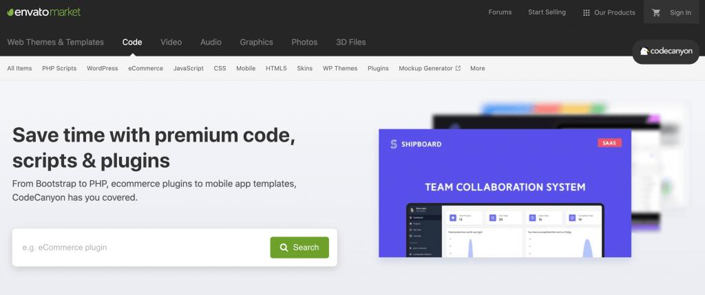 The CodeCanyon premium marketplace.