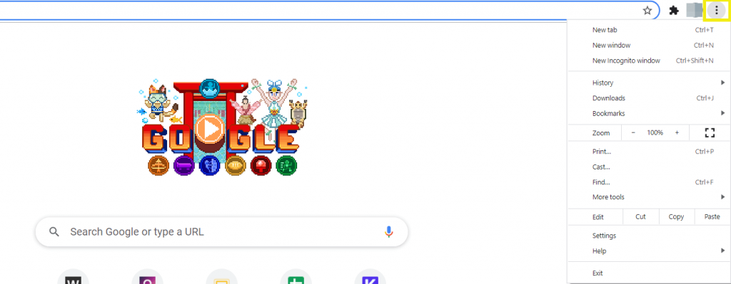 The three dots at the top of the Chrome browser.