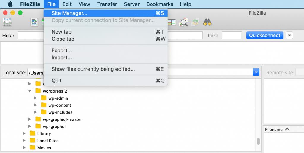 The FileZilla FTP client.