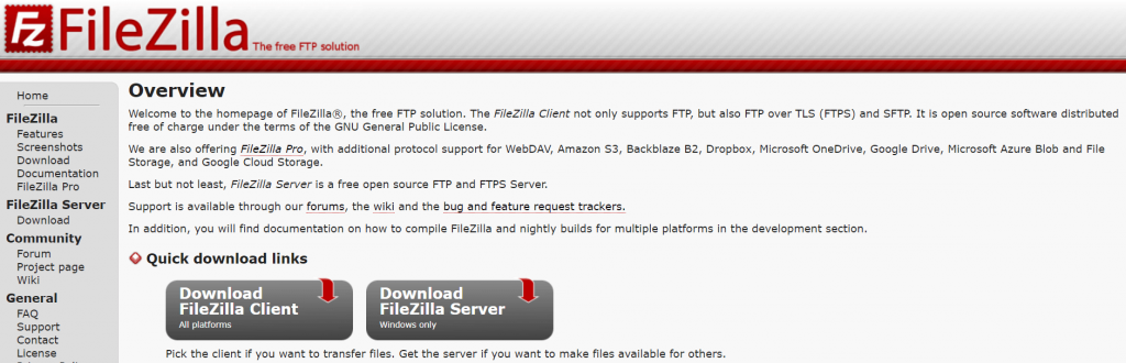 The FileZilla FTP client homepage.
