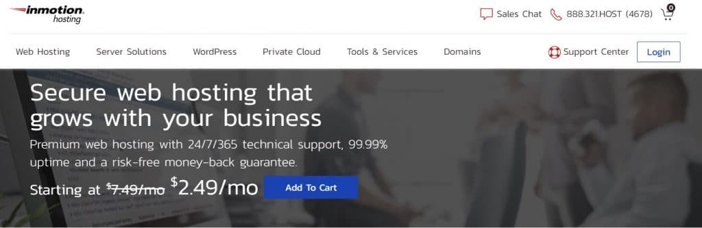 InMotions offers secure and reliable hosting for small businesses.