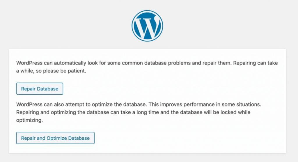 WordPress' database repair tool.