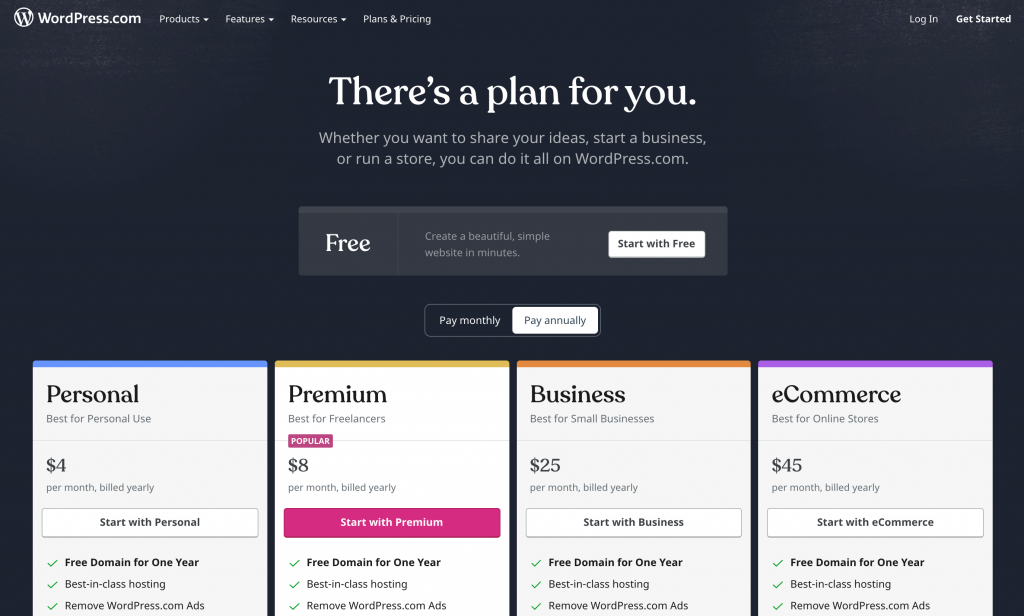 Is WordPress free? A selection of WordPress.com payment plans.