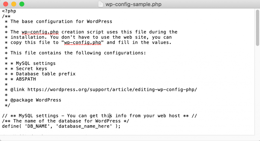 A WordPress wp-congif.php file.