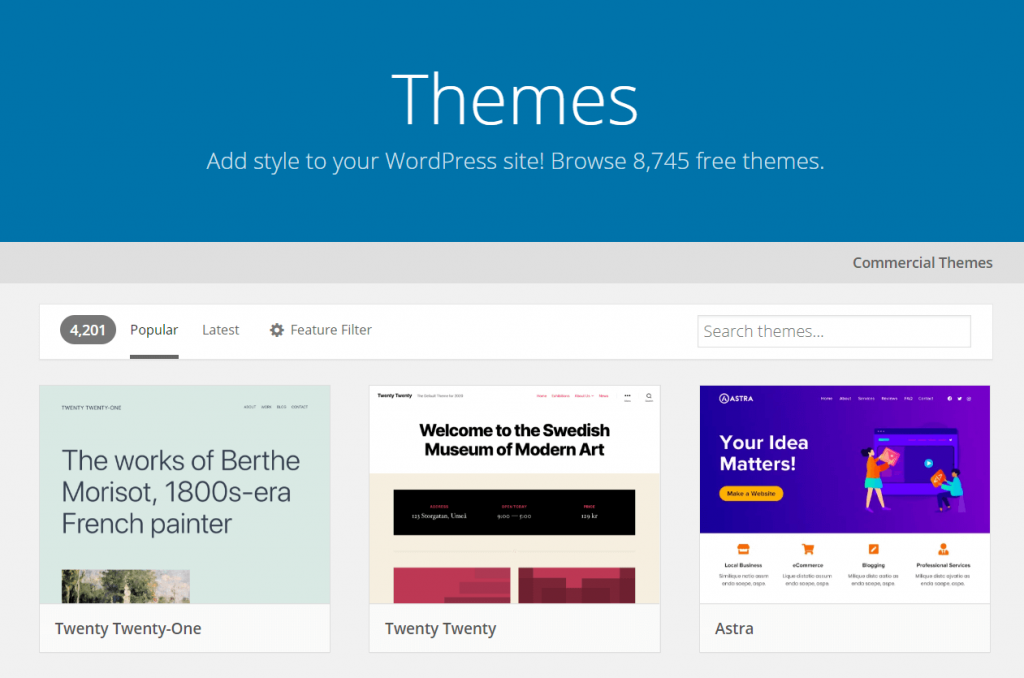 An image of the WordPress theme directory.