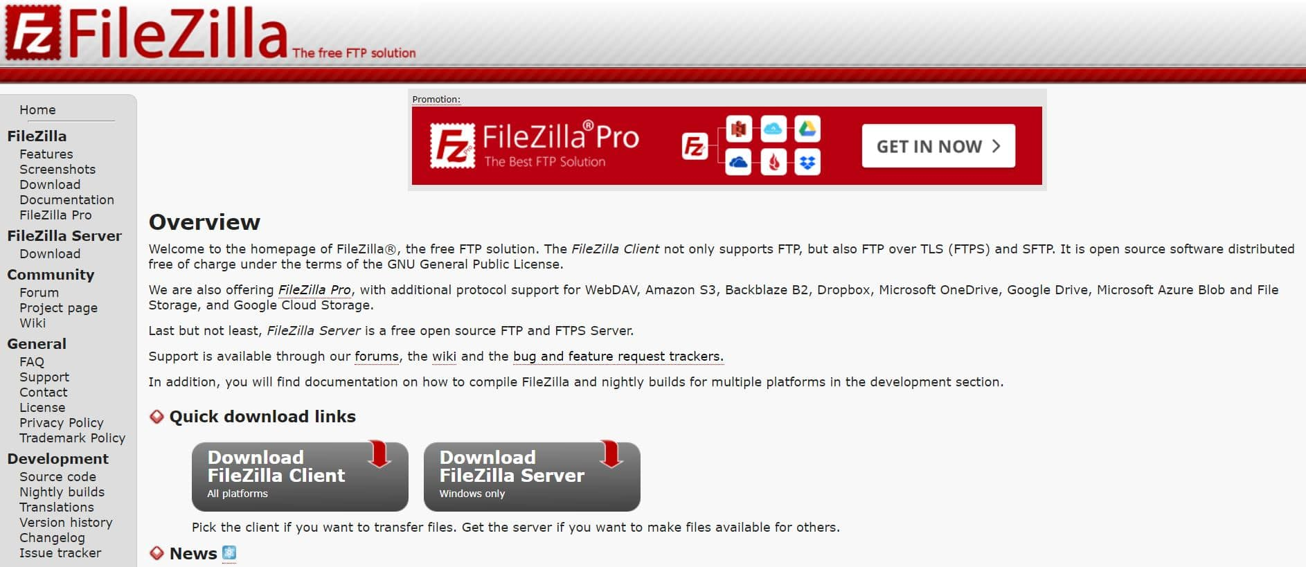 The FileZilla homepage