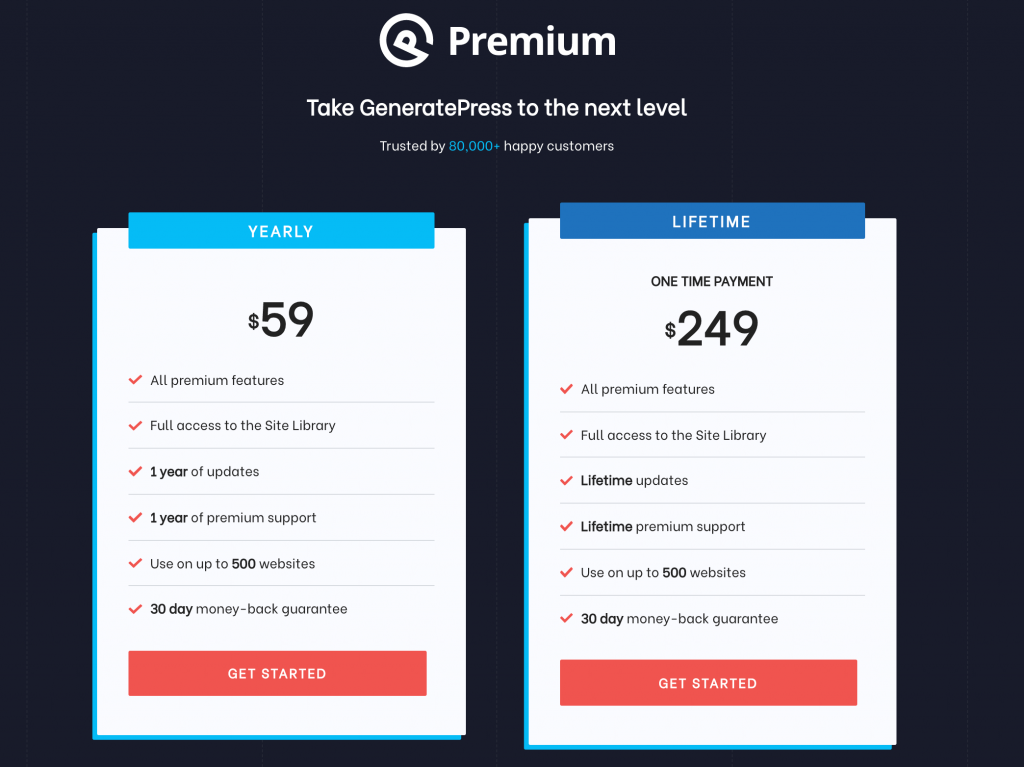 The GeneratePress pricing page.