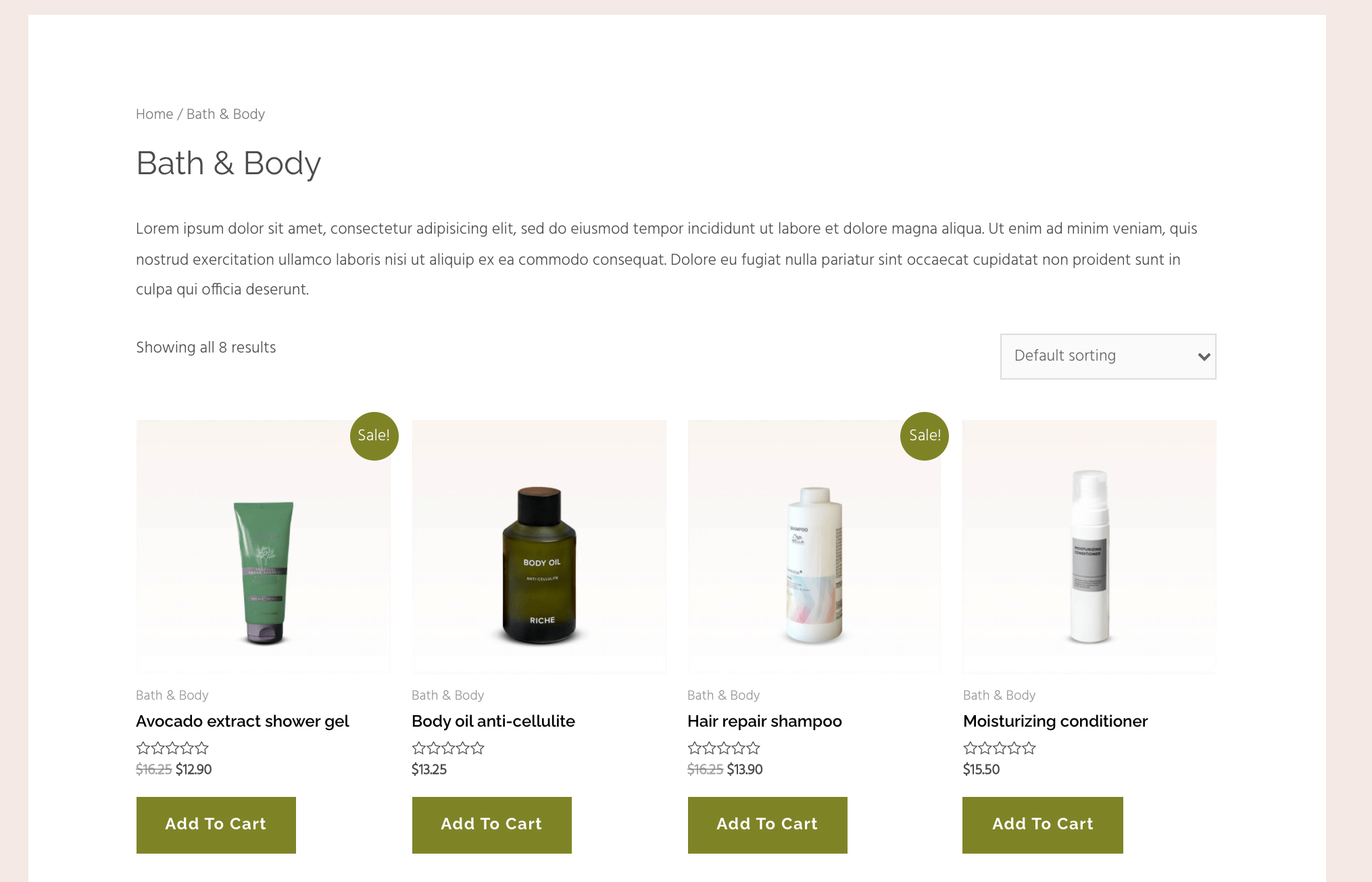 An example of Astra e-commerce starter sites.