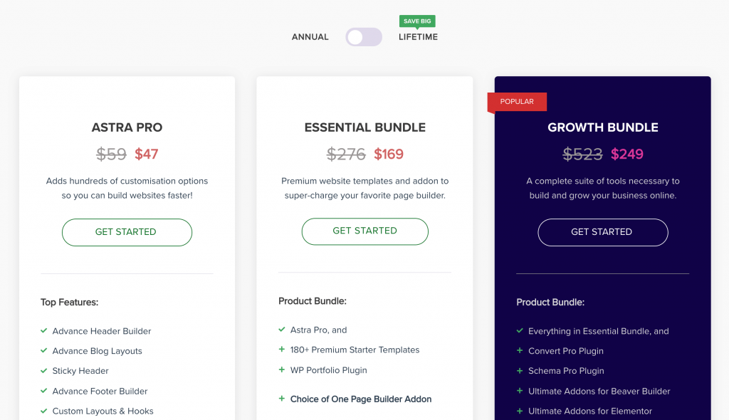 Astra's pricing page.