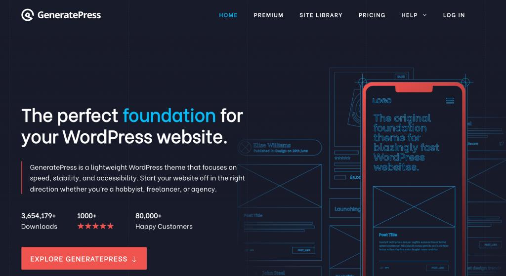 The GeneratePress WordPress theme.
